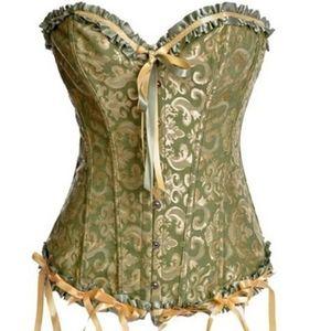 Gothic boned overbust corset, waist trainer. PlUS.